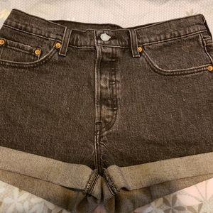 Dark Gray Cuffed Levi's 501 Shorts